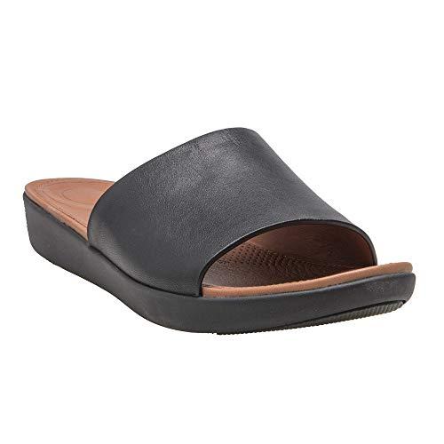 (FitFlop Women's Sola Slide Sandal, Black Leather 9)