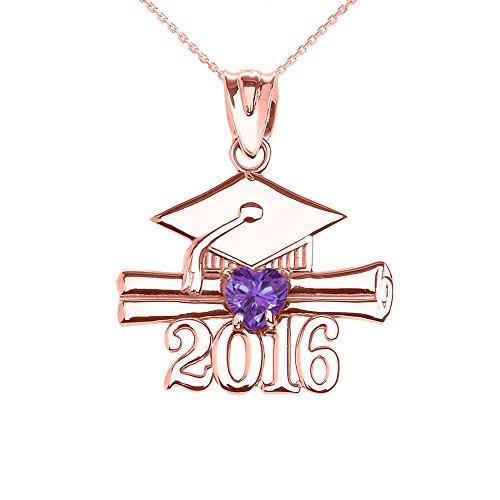 Collier Femme Pendentif 14 Ct Or Rose Cœur Juin Pierre De Naissance Clair Violet Oxyde De Zirconium Classe De 2016 Graduation (Livré avec une 45cm Chaîne)
