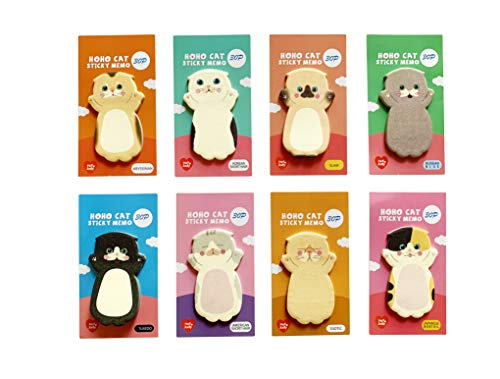 Cute Kawaii Cat Sticky Notes Memo Pad(8x30 Sheets), Japanese Stationery, Party Favors, Gift for Cat Lovers