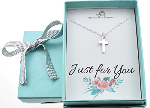 First Communion Cross Necklace - Little Girl's Tiny Cross necklace in sterling silver on a 14