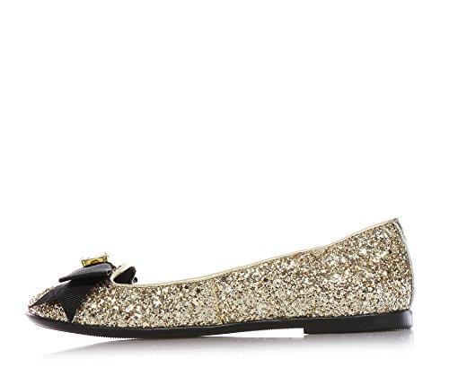 MISS GRANT - Ballerine dorée en glitter, style élégant et chic, petit nœud décoré avec une pierre à l'avant, ourlet supérieur et petit talon, Fille, Filles, Femme, Femmes