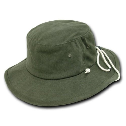 Decky Aussie Australian Style Outback Drawstring Bucket Hat (Olive Green, Large/XL)