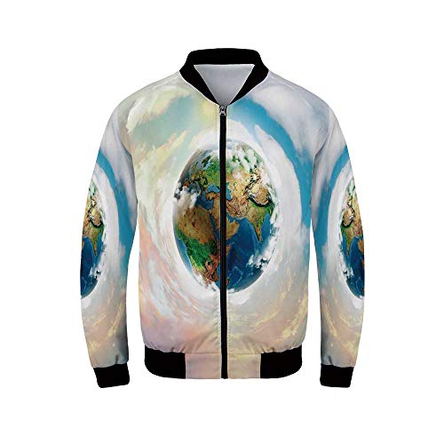 - Earth Men's Windproof Jacket,Vibrant Colorful Image of Planet Earth Vivid Continents Swirling Clouds Ecology Theme Decorative for Outdoor,XXL