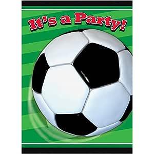 Generique 8 invitaciones de cumpleaños tema fútbol verdes ...