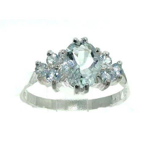 Natural Aquamarine Womens Band Ring - Size 5 ()