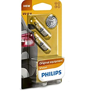 Philips Vision H6W 12036B2 Indicator Bulbs Set of 2 in Blister Pack