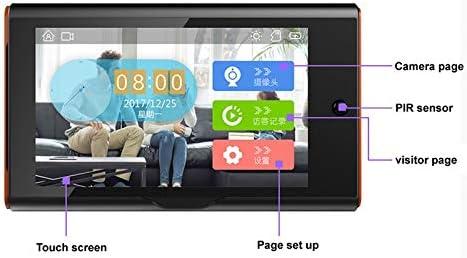 DYHM Campanello Visualizzatore spioncino digitale wireless da 7 pollici Sicurezza domestica Rilevazione e registrazione di campanello Smart Video Angolo di 170 gradi