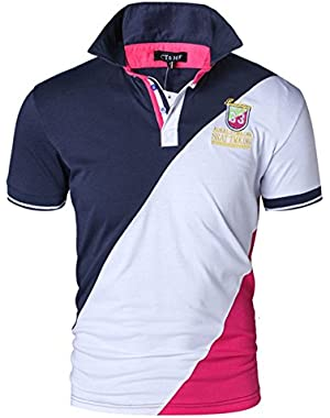 Men's Summer Short Polo Shirt with Three Colors Combined