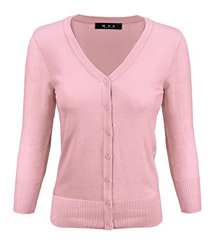 YEMAK Women's 3/4 Sleeve V-Neck Button Down Knit Cardigan Sweater CO078-LPK-1X Light Pink (Cardigan V-neck Nylon)