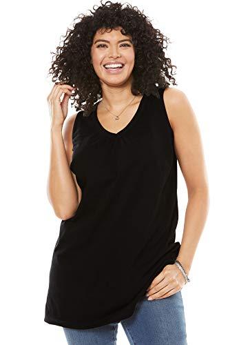 (Woman Within Women's Plus Size Perfect V-Neck Sleeveless Tunic - Black, 5X)