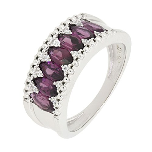 BL Jewelry Sterling Silver Marquise Cut Genuine Rhodolite Garnet Eternity Band Ring (1 3/4 CT.T.W)