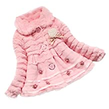 Changeshopping Kids Baby Girls Faux Fur Fleece Lapel Coat Winter Warm Jacket