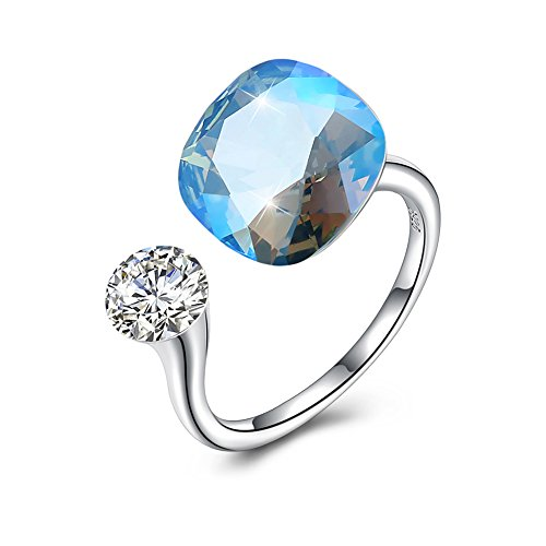 [해외]Rockyu 브랜드 쥬얼리 스와로브스키 반지 여성용 인기 프리 사이즈 백 굵은 다이아몬드 블루 크리스탈 크리스탈 패션 액세서리 / Rockyu Brand Jewelry Swarovski Rings Women`s Popular Free Size Platinum Large Diamond Blue Crystal Fashion Acc...