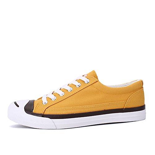 Giallo Basse Classiche Sneakers Giallo da Uomo Sneakers Scarpe Tela Traspiranti Comode fZB4qzS4wW