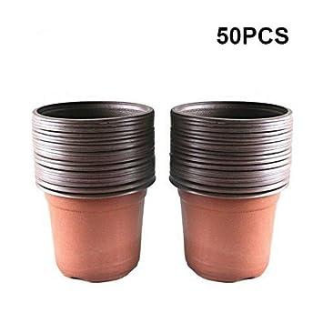 G2PLUS 50 pcs plástico Planta/Flor Ollas 15 cm bandeja de semillas perfecto para jardinero