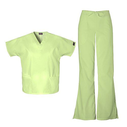 Cherokee Women's Workwear Top 4700 & Flare Leg Drawstring Pant 4101 Scrub Set (Celadon - XX-Large)