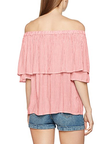 Vero Moda Vmjane Off Shoulder 2/4 Midi Top Dnm, Camiseta para Mujer Multicolor (Snow White Stripes:Hibiscus)