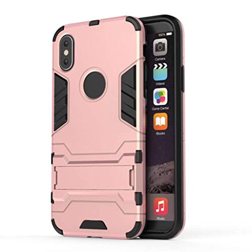 Be Applicable to iPhone 6 / 6s / 6Plus / 6Splus / 7/8 / 7Plus / 8Plus / X/XS/XR/XS Max Mobile Phone case, Invisible Support Anti-Fall Protection Set-Rose Gold-X/XS