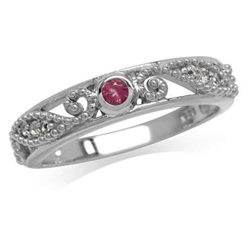 Silvershake Natural Pink Tourmaline and White Topaz Gold Plated 925 Sterling Silver Filigree Ring Size 6