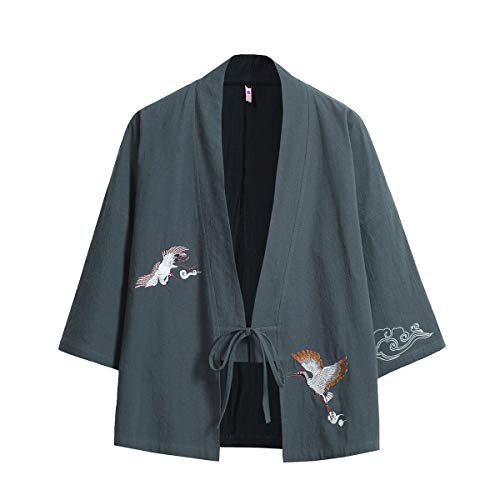 Seidarise Men's Haori Jacket Kimono Cardigan Noragi Japanese Yukata