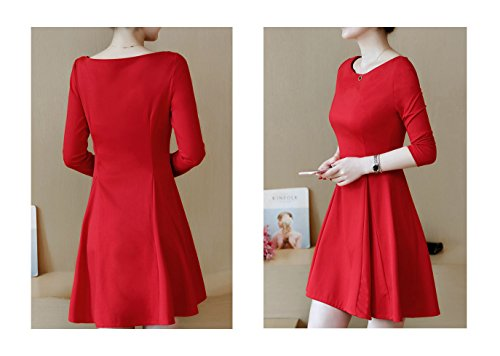 Long Bodycon Club Cocktail Dress Flared 2 Women's ARJOSA Sleeve Party Red Hnqw5tgT