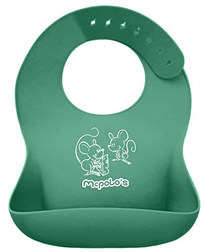 McPolo's Cute Mice n Cheese iBib Portable Silicone Baby Bib - Waterproof Food Crumb Catcher Pocket Ultra Soft Easily Wipes Clean Stains Off – Best for 2 MO to 6 YO Babies Toddlers PreSchoolers