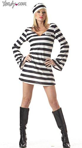 California Costumes Men's Convict Chick Costume, Black/White, Large ()