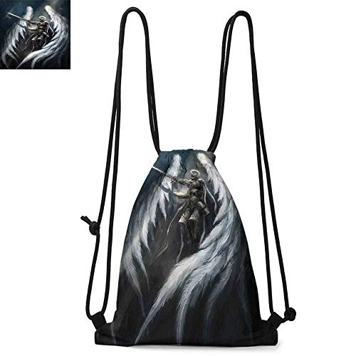 Majestic Angel Fish - Fantasy House Decor Printed drawstring backpack Angel Knight with Majestic Wings Spiritual Superior Power Imagination Art Print Suitable for school or travel W17.3 x L13.4 Inch Silver White