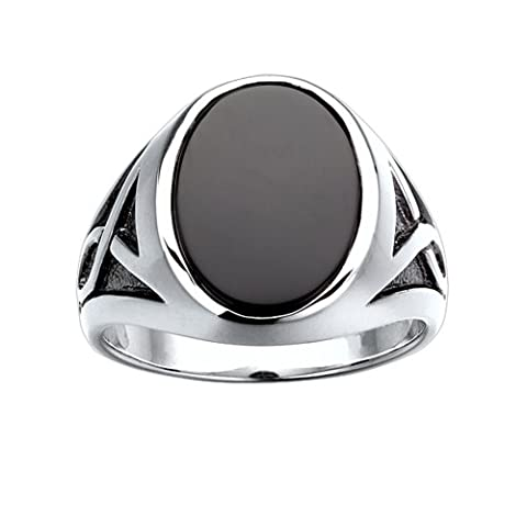 Sterling Silver Onyx Ring with black rhodium accent detail. Finger size 10.5 (Oval Cut Black Onyx Ring)