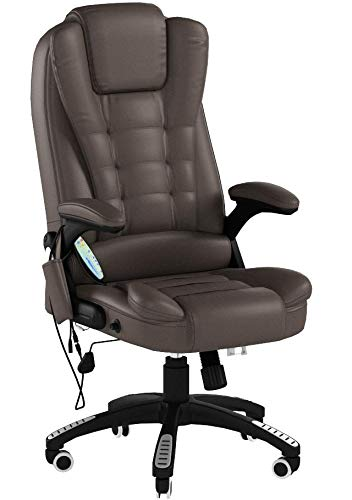 Home Office Computer Desk Massage Chair Executive Ergonomic Heated Vibrating (Brown) Homcom