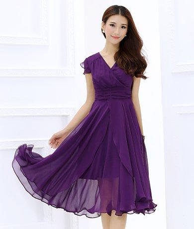 Shineflow Women's Short Sleeve V-neck Ruffle Ruched Midi Cocktail Dress