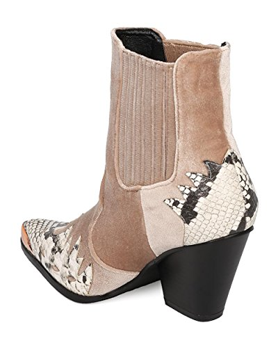 CAPE ROBBIN Women Flame Pattern Cowboy Boot - Block Heel Western Boot - Chunky Heel Ankle Boot - HK88 by Snake Mix Media pHn3c