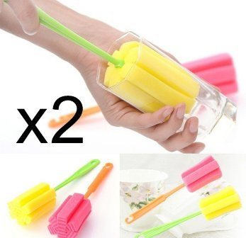 2Pcs Brush Kitchen Cleaning Tool Sponge Brush For Wineglass Bottle Coffe Tea Glass Cup Mug Vase bottle