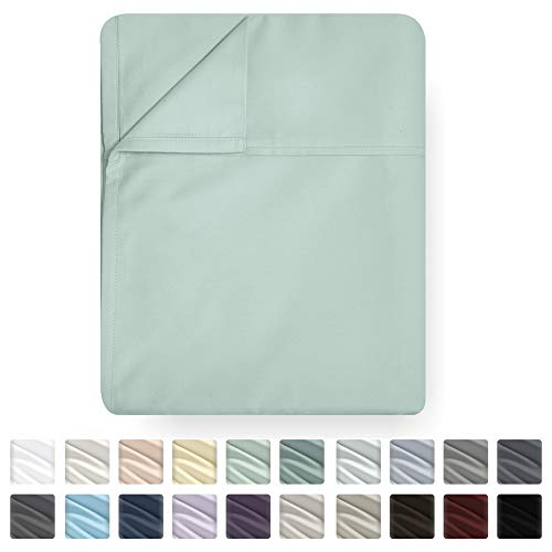 - California Design Den Queen Size Flat Sheet Only - Mod Spa Color 400 Thread Count Luxury Soft 100% Cotton Sateen Weave Bedding - Best Hotel Quality Cool Top Flat Sheet, Lightweight and Breathable