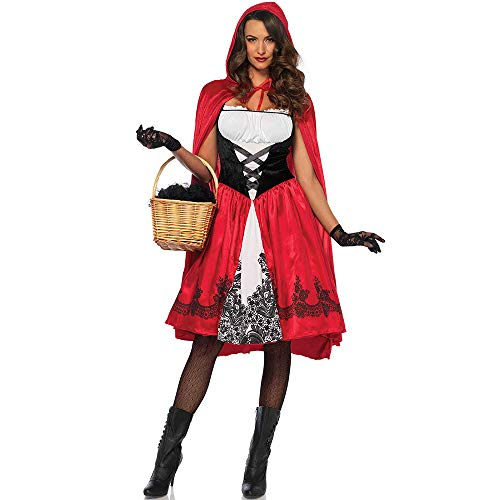 Tinstree Women's Little Red Riding Hood Halloween Cloak Cosplay Costume Make up Party Dress (L) ()