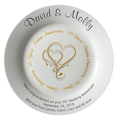 All About Names Personalized Bone China Commemorative Plate - Golden (50th) Wedding Hearts Design