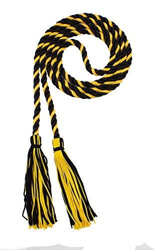 HONOR CORD - BLACK / GOLD - TASSEL DEPOT BRAND - MADE IN USA - Gold Black Cord