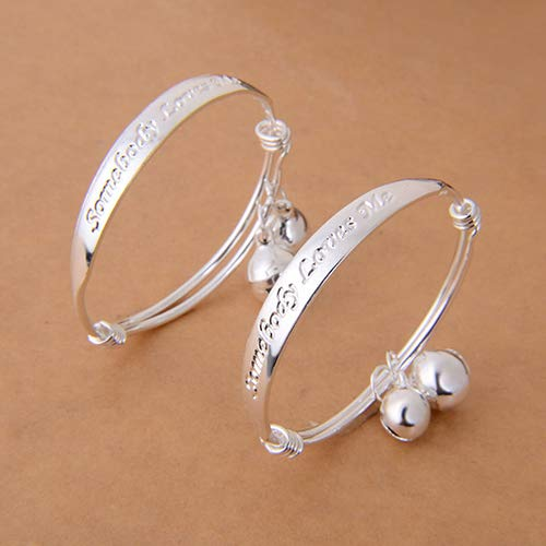 BYyushop New Gift 2pcs Silver Plated Baby Kid Bell Bangle Bracelet English ()