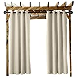 """Outdoor Curtain Grommet Eyelet Beige 150"""" W x 102"""" L for Front Porch, Pergola, Cabana, Covered Patio, Gazebo, Dock, and Beach Home (1 Panel)."""