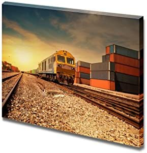 Cargo Train Platform at Sunset with Container Home Deoration Wall Decor