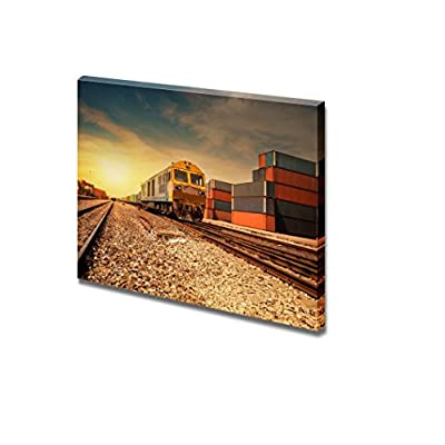 Canvas Prints Wall Art - Cargo Train Platform at Sunset with Container| Modern Home Deoration/Wall Art Giclee Printing Wrapped Canvas Art Ready to Hang - 24