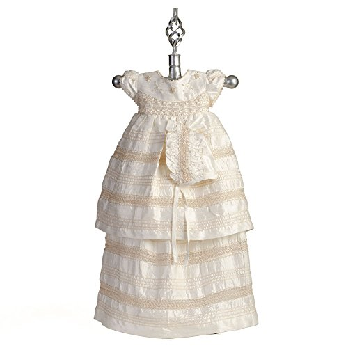 Christening Gown -Baptism Silk Dress, Silk French Knots Gown, BE6573