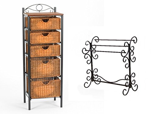 Iron/Wicker Classically Styled Storage Solution Five-Drawer Unit with Bonus Blanket Rack Bundle Set (Storage Drawer Wicker Unit)
