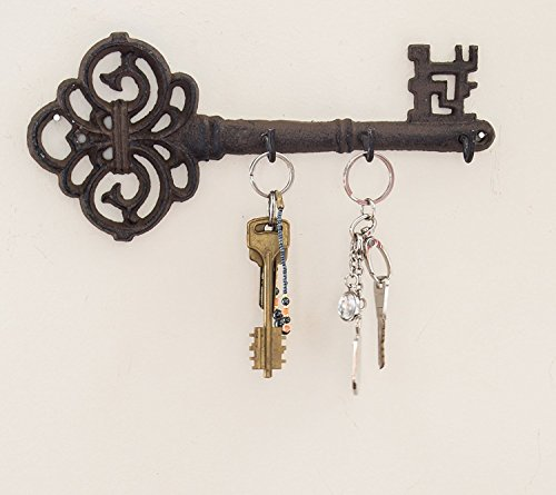 Decorative Holder (Decorative Wall Mounted Key Holder | Vintage Key With 3 Hooks | Wall Mounted | Rustic Cast Iron | 10.8 x 4.7- With Screws And Anchors By Comfify)