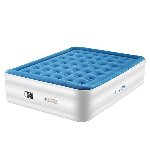 TILVIEW Queen Size Air Mattress, Blow Up Elevated Raised Air Bed Inflatable Airbed with Built-in Electric Pump, Storage Bag and Repair Patches Included, Blue, 2-Year Guarantee (Best Rated Air Mattress With Pump)