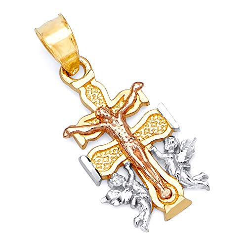 Tri Color Gold Cross - 14k REAL Tri Color Gold Religious Cross of Caravaca Charm Pendant