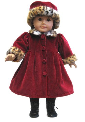 Red Velvet Coat and Hat with Leopard Print Fur Trim. Fits 18