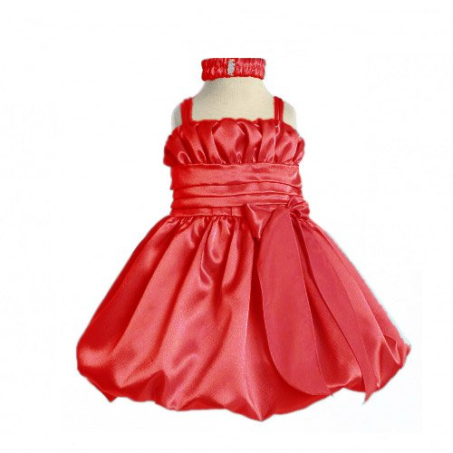Baby Christmas Holiday Special Occasion Red Dress with Headband (3M to 24M)