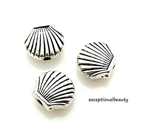20 Antiqued Tibetan Silver 9x8mm Scalloped Clam Shell Spacer Accent Metal Beads