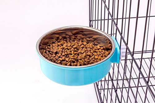 Amazon5stars Crate Dog Bowl,Stainless Steel Removable Water Food Feeder Bows Cage Coop Cup for Dogs,Cats,Birds,Small Animals,20 oz (Blue)